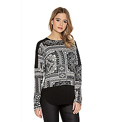 Quiz - Cream And Black Patchwork Long Sleeve Contrast Top
