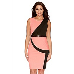 Quiz - Coral And Black Peplum Belt Dress