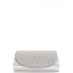 Quiz - Silver Shimmer Diamante Curve Bag