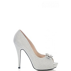 Quiz - Silver Shimmer Brooch Peep Toe Platform Shoes