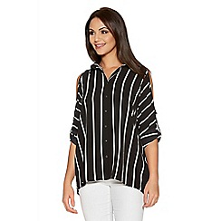 Quiz - Black And White Stripe Cold Shoulder Shirt