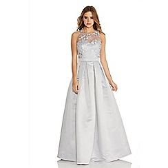Quiz - Grey Lace Sweetheart Satin Maxi Dress