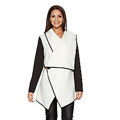 Quiz - White Buckle Waterfall Cardigan