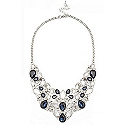 Quiz - Navy Tear Drop Jewel Necklace