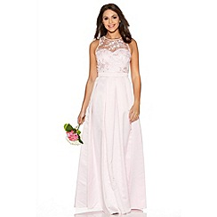 Quiz - Pink Lace Sweetheart Satin Maxi Dress