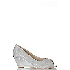 Quiz - Silver Shimmer Peep Toe Wedges