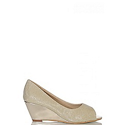 Quiz - Gold Shimmer Peep Toe Wedges