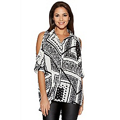 Quiz - White Tile Print Cold Shoulder Shirt