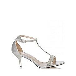 Quiz - Silver Shimmer T-Bar Sandals