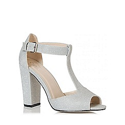 Quiz - Silver Shimmer T-Bar Block Heel Shoes