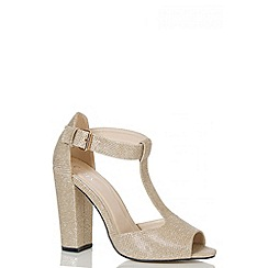 Quiz - Gold Shimmer T-Bar Block Heel Shoes