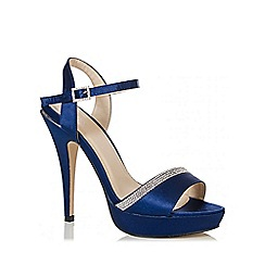 Quiz - Navy Satin Diamante Peep Toe Sandals