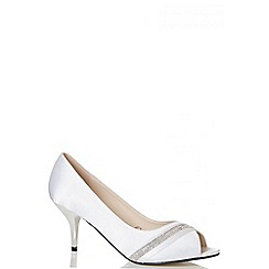 Quiz - White Satin Diamante Low Heel Courts