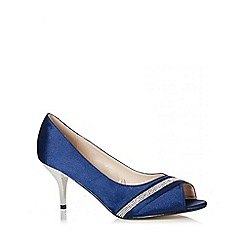 Quiz - Navy Satin Diamante Low Heel Courts