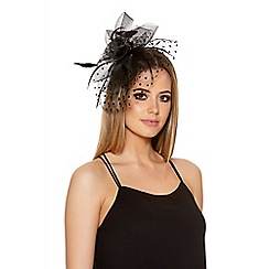 Quiz - Black Polka Dot Fascinator