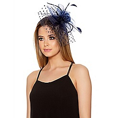 Quiz - Navy Polka Dot Fascinator