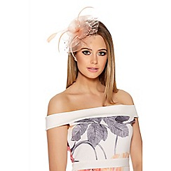 Quiz - Peach Polka Dot Fascinator Clip