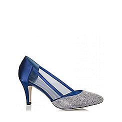 Quiz - Navy Diamante Low Heel Court Shoes