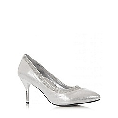 Quiz - Silver Shimmer Diamante Swirl Court Shoes