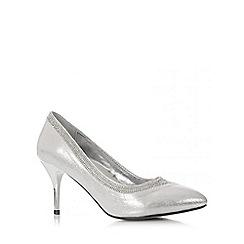 Quiz - Silver Shimmer Diamante Swirl Court Shoes