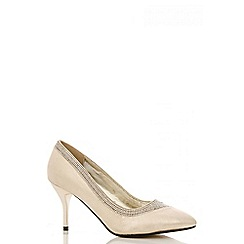 Quiz - Gold Shimmer Diamante Swirl Court Shoes