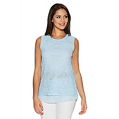 Quiz - Blue Glitter Lace Sleeveless Chiffon Hem Top