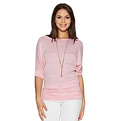 Quiz - Pale Pink Silver Lurex Necklace Top