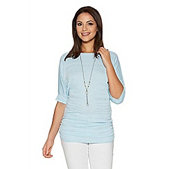 Quiz - Pale Blue Silver Lurex Necklace Top