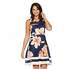 Quiz - Navy Flower Print Mesh Skater Dress