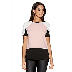 Quiz - Nude and Black Crepe Colour Block Top
