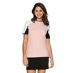 Quiz - Nude and Black Crepe Colour Block Tunic Dress