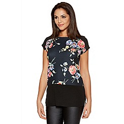 Quiz - Multicoloured Crepe Flower Print Contrast Top