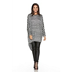 Quiz - Black And White Stripe Light Knit Oversize Top