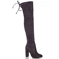 Quiz - Grey Over The Knee High Heel Boots