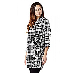 Quiz - Black And White Crepe Tie Belt Shirt  Dress