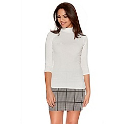 Quiz - Cream  Ribbed Turtle Neck 3/4 Sleeve Top