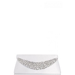 Quiz - White Satin Jewel Curve Bag