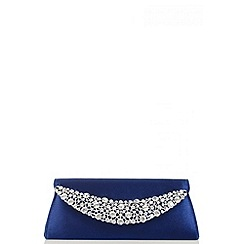 Quiz - Navy Satin Jewel Curve Bag