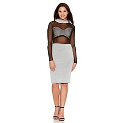 Quiz - Black And Cream Stripe Mesh Turtle Neck Dress
