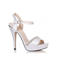 Quiz - White Satin Diamante Peep Toe Sandals