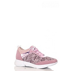 Quiz - Pink Glitter Lace Trainers