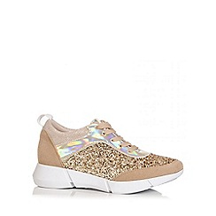 Quiz - Gold Glitter Lace Trainers
