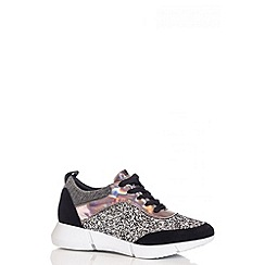 Quiz - Black Glitter Lace Trainers