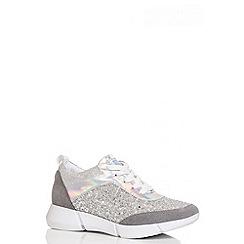Quiz - Silver Glitter Lace Trainers