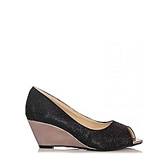 Quiz - Black Shimmer Peep Toe Wedges