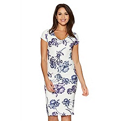 Quiz - White And Blue Flower Print Strap Back Midi Dress