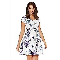 Quiz - White And Blue Strap Back Skater Dress