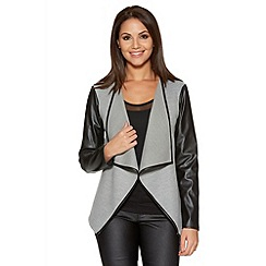 Quiz - Light Grey Felt PU Sleeve Waterfall Jacket