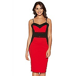 Quiz - Red And Black Lace Panel Midi Dress