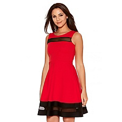 Quiz - Red And Black Mesh Skater Dress